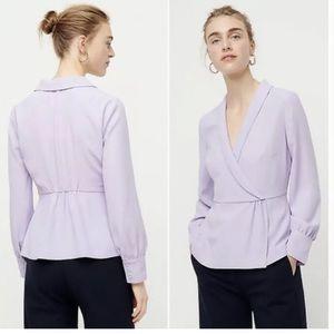 J crew lilac purple drapes faux wrap blouse
